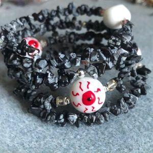 Jewelry - 👁 snowflake obsidian eye ball bracelet
